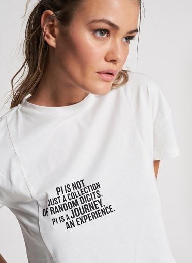 Pi π Baskı Detaylı Crop Tişört Beyaz